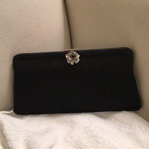 50s black silk cocktail bag pewter rose closure